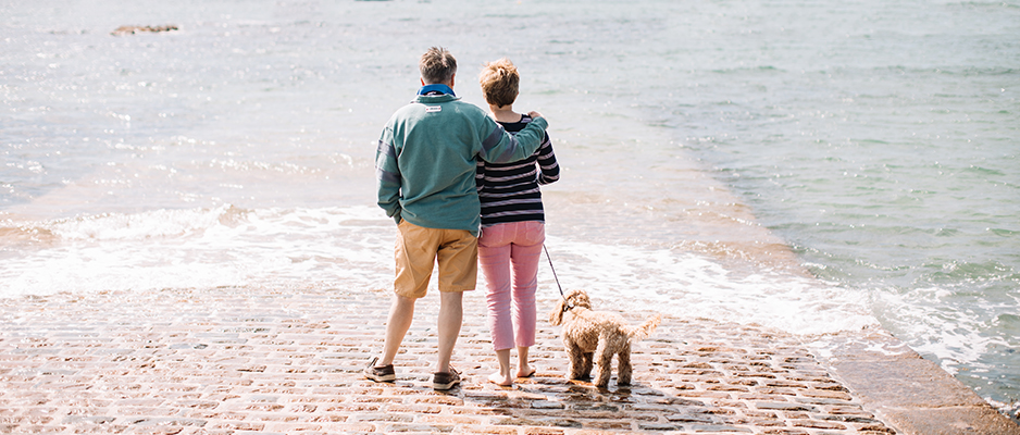 Couple with dog in Jersey